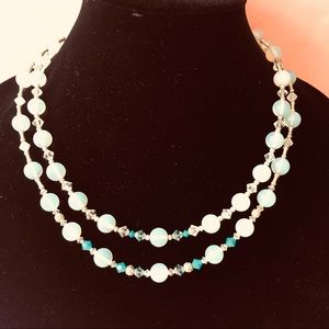 Vintage moon stone necklace with crystals
